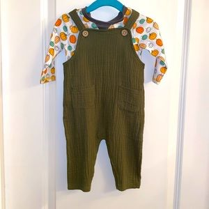 Mud Pie Olive Jumper with Tee NWT 3-6M